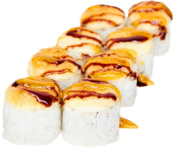 Запечений рол з печеним лососем